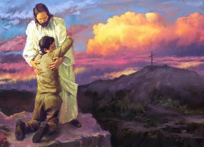 Ježiš objíma klačiaceho kajúcnika